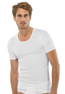 Schiesser Doppelripp T-Shirt Ronde Hals Wit