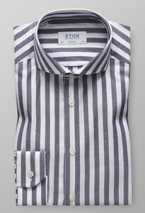 Eton Striped Twill Donker Blauw