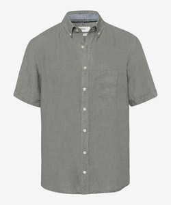 Brax Dan Linnen Korte Mouw Overhemd Olive