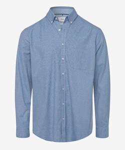 Brax Daniel Fine Pied-de-Poule Overhemd Midden Blauw