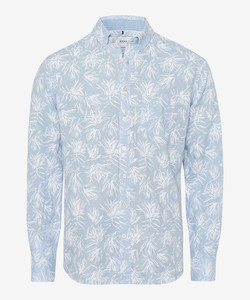 Brax Daniel Linen Leaf Pattern Shirt Blue Melange Dark