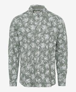 Brax Daniel Linen Leaf Pattern Shirt Green