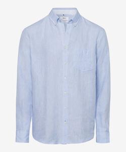Brax Dirk Linnen Overhemd Blauw Melange