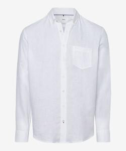 Brax Dirk Linnen Overhemd Wit