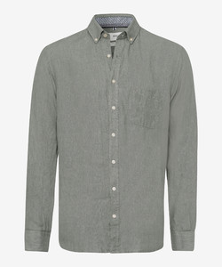 Brax Dirk Uni Linen Button Down Shirt Khaki
