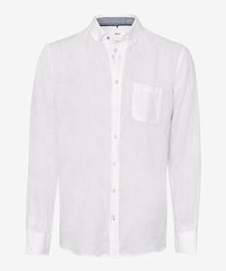 Brax Dirk Uni Linnen Button Down Overhemd Wit