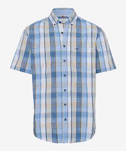 Brax Drake Button Down Check Overhemd Beige