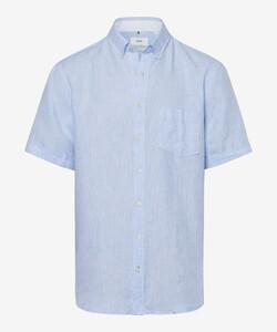 Brax Drake Linnen Kort Mouw Overhemd Blauw Melange