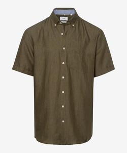 Brax Drake Linnen Kort Mouw Overhemd Khaki