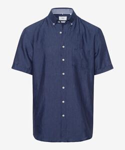 Brax Drake Linnen Kort Mouw Overhemd Navy
