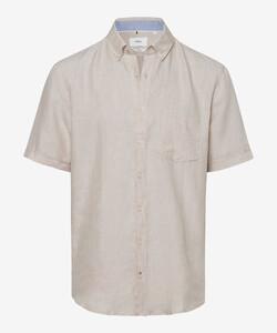 Brax Drake Linnen Kort Mouw Overhemd Zand