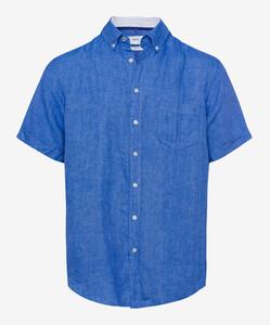 Brax Drake Overhemd Blauw Melange