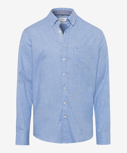 Brax Dries Button Down Overhemd Blauw Melange
