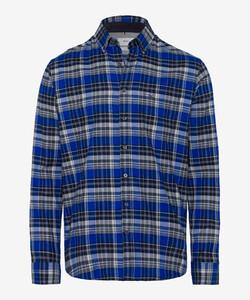 Brax Dries Check Button Down Overhemd Blauw