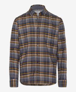 Brax Dries Check Button Down Overhemd Zand