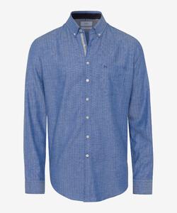 Brax Dries Fine Herringbone Overhemd Blauw