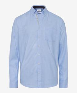 Brax Dries Fine Herringbone Overhemd Licht Blauw