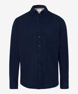 Brax Dries Fine Herringbone Overhemd Navy