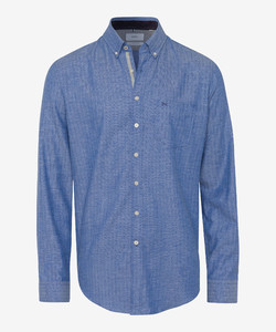 Brax Dries Fine Herringbone Shirt Blue