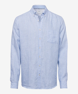 Brax Dries Linnen Summertime Overhemd Blauw