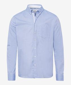 Brax Dries Uni Cotton Fine Oxford Overhemd Blauw Melange