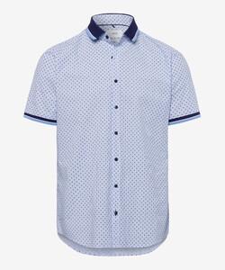 Brax Luke Kort Mouw Overhemd Blauw Melange