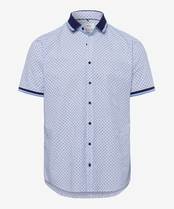Brax Luke Kort Mouw Shirt Blue Melange Dark