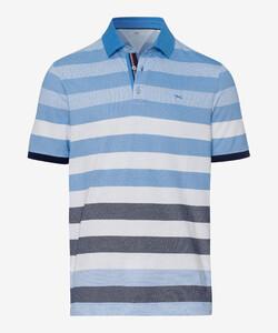 Brax Paco Multi Stripe Poloshirt Iced Blue