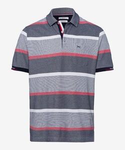 Brax Paco Multi Stripe Poloshirt Ocean