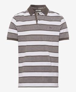 Brax Piero Polo Sportive Stripe Polo Khaki