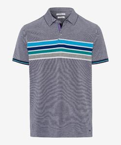 Brax Piero Stripe Poloshirt Ocean