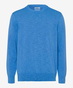 Brax Rick Garment Dye Slub Yarn Pullover Iced Blue