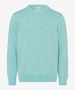 Brax Rick Garment Dye Slub Yarn Pullover Iced Green