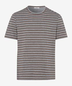 Brax Troy Striped Shirt T-Shirt Bruin