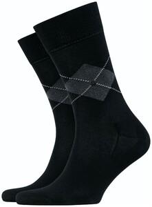 Burlington Argyle Check Socks Black