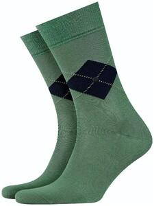 Burlington Argyle Check Socks Khaki Green