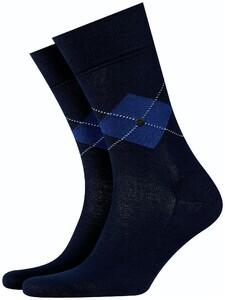 Burlington Argyle Check Socks Marine