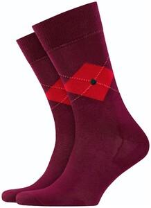 Burlington Argyle Check Socks Merlot