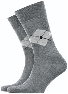 Burlington Argyle Check Socks Steel Melange