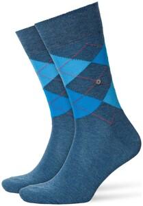 Burlington King Socks Sokken Denim Blue