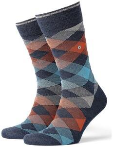 Burlington Newcastle Sokken Donker Blauw Melange