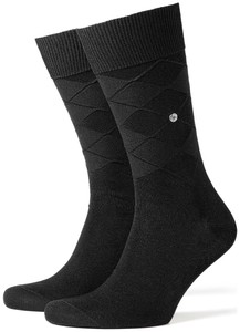 Burlington Uni Argyle First Layer Ski Sokken Zwart