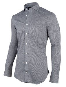 Cavallaro Napoli Alessio Overhemd Donkergrijs-Wit