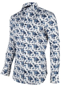Cavallaro Napoli Cinci Overhemd Wit-Donker Blauw