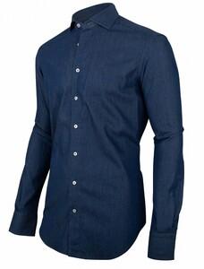 Cavallaro Napoli Denimo Sleeve 7 Overhemd Midden Blauw