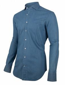 Cavallaro Napoli Denimo Sleeve 7 Overhemd Sky Blue