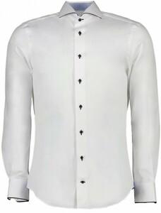Cavallaro Napoli Fiero Overhemd Wit-Midden Blauw
