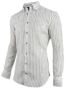 Cavallaro Napoli Lino Overhemd Wit-Groen