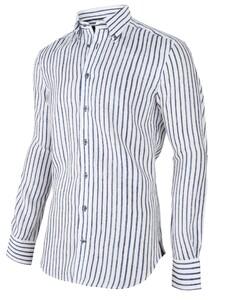 Cavallaro Napoli Lino Shirt White-Navy