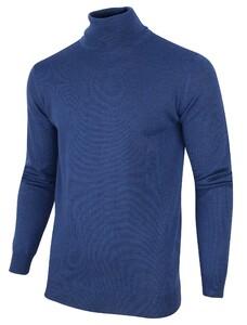 Cavallaro Napoli Merino Roll Neck Pullover Trui Midden Blauw